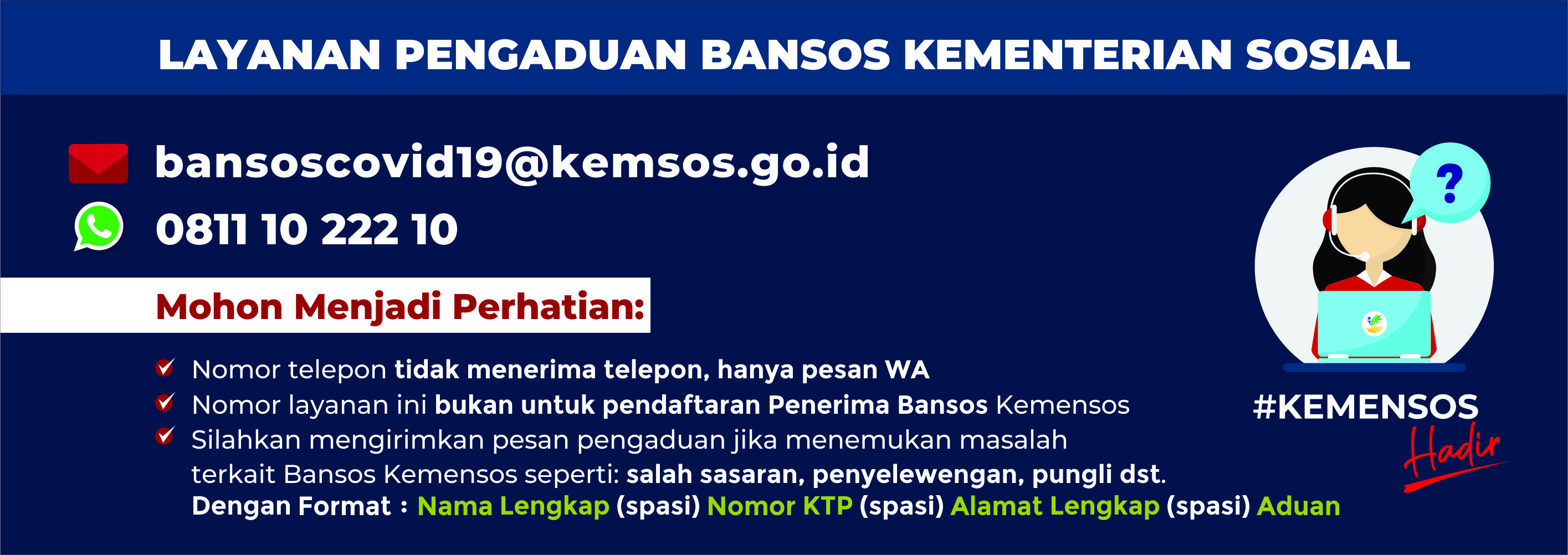 Contact Center Pengaduan Bansos Covid19