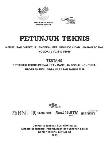 Petunjuk Teknis Penyaluran Bansos Non Tunai PKH Tahun 2019