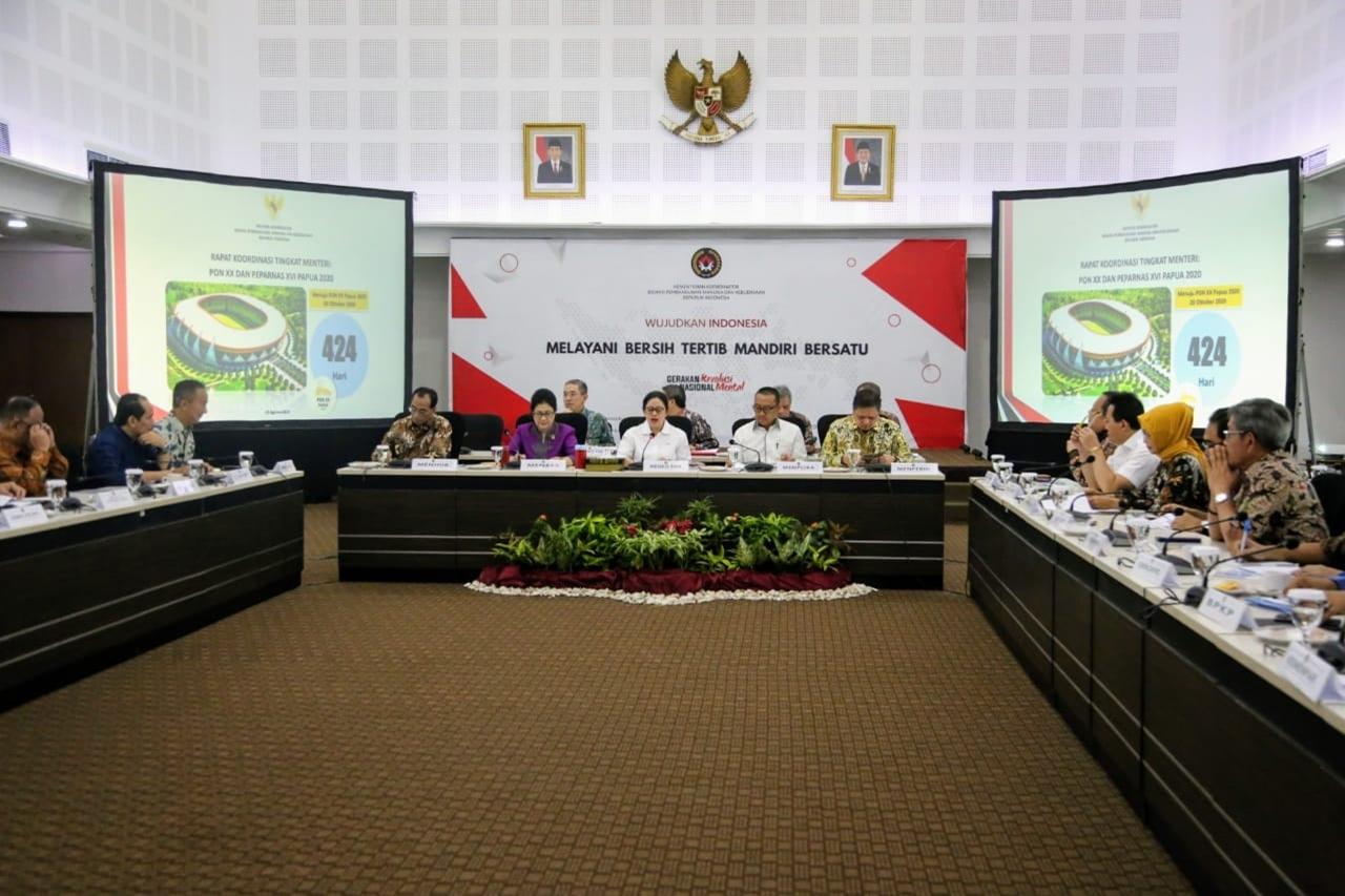 Mensos Menghadiri Rakor Persiapan PON XX dan PEPARNAS XVI Papua 2020