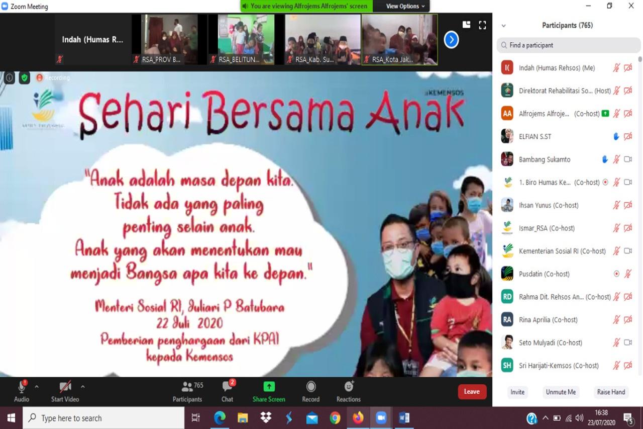 Meriahkan Puncak Hari Anak Nasional 2020, Mensos Sapa 8000 Anak Indonesia secara Virtual