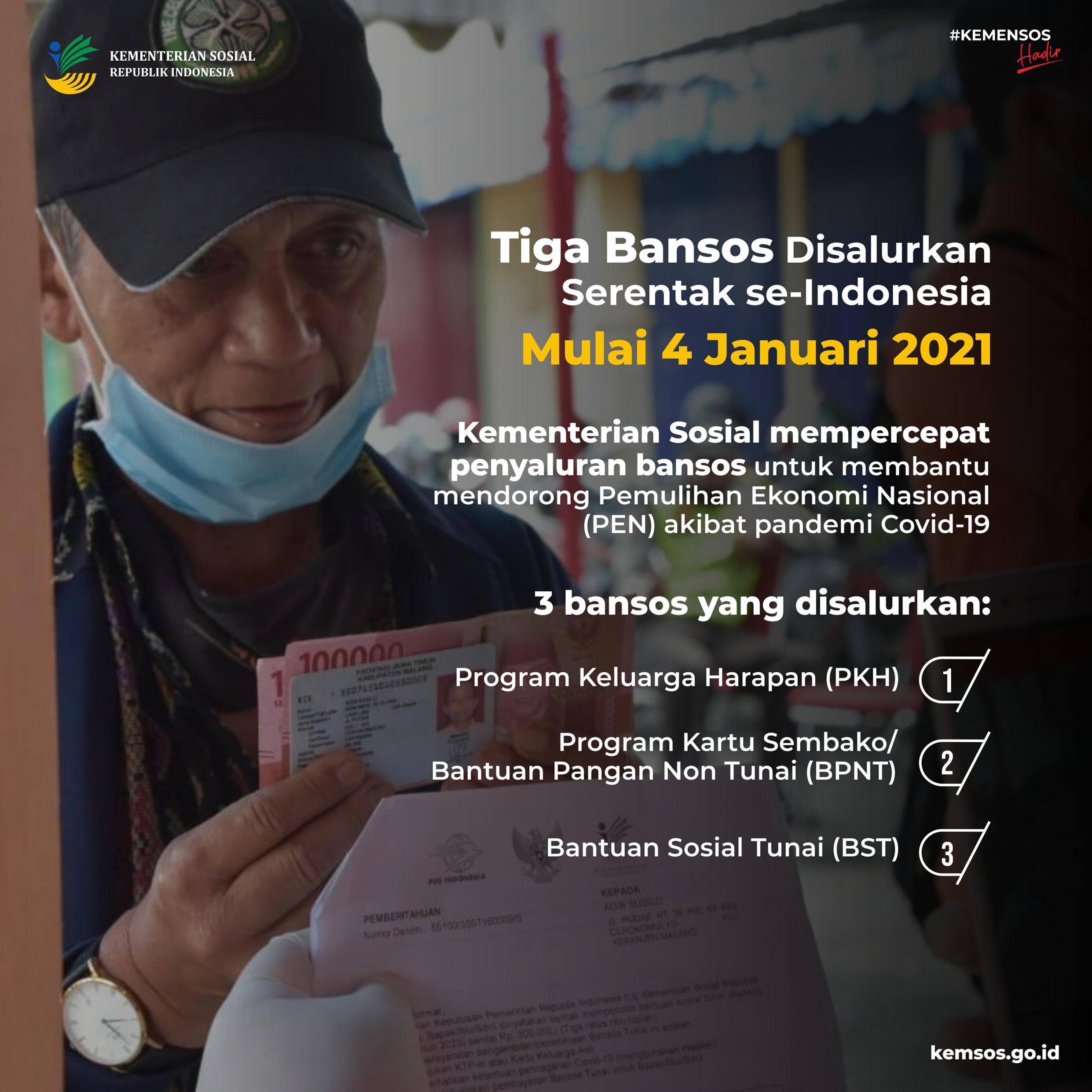 3 Bansos Disalurkan Mulai 4 Januari