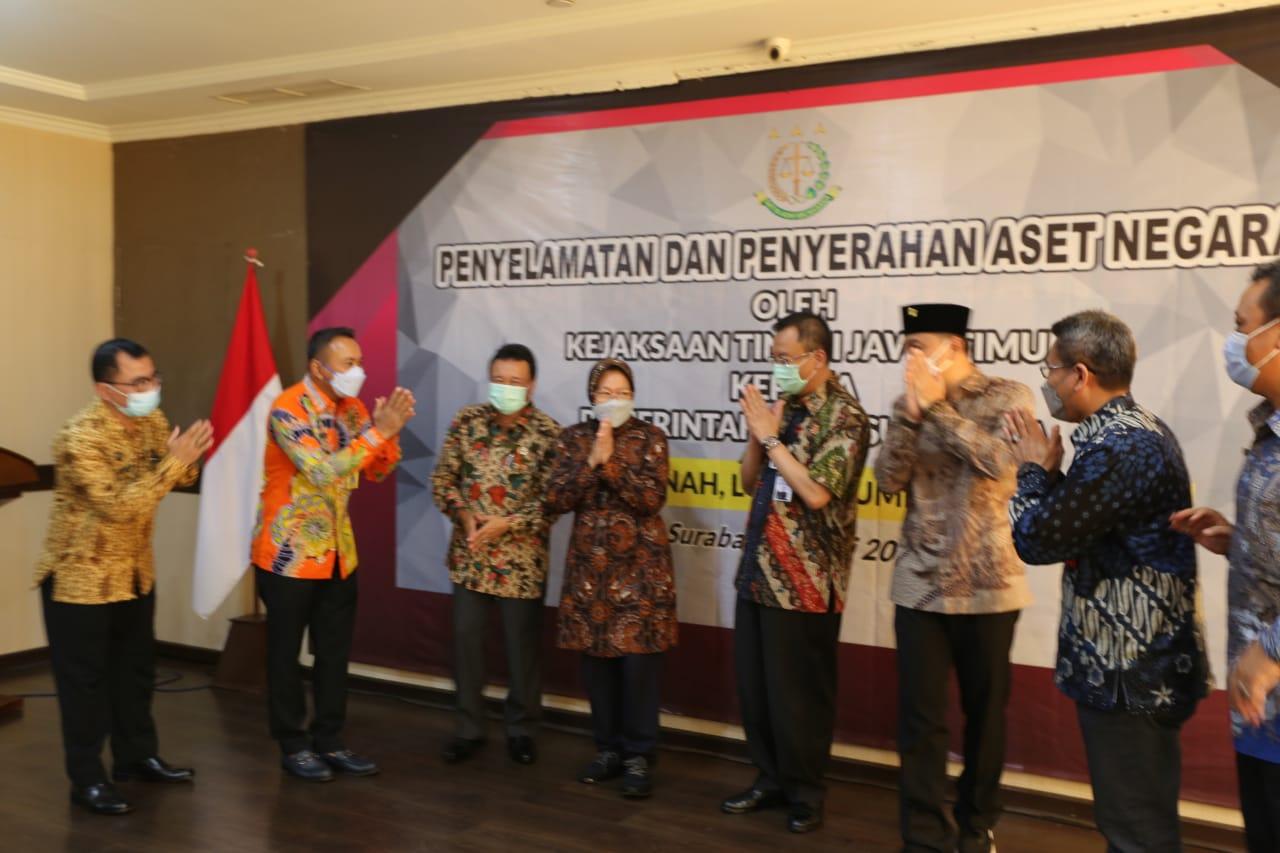Mensos Saksikan  Penyelamatan dan Penyerahan Aset Pemkot Surabaya